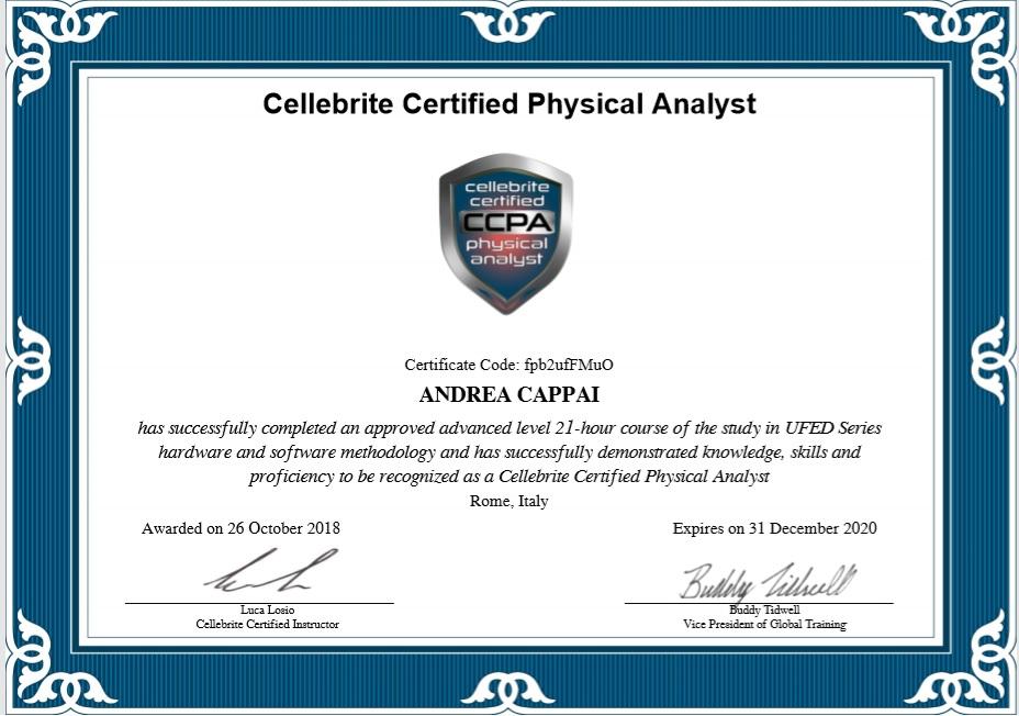 Cellebrite Certified Physical Analyst – ingK – Studio